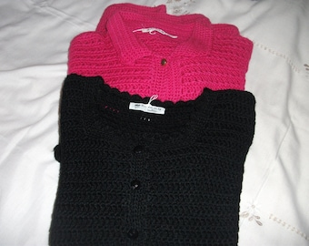 Black and Cerise Crochet Cardigan
