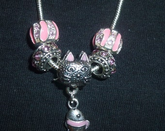 Cat with a Fish Dangling from it's Mouth ~ So cute!  Pink Enamel, Rhinestones and Antiqued Silver