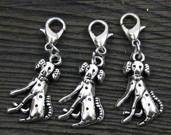 1 pc. Dangle Silver Dalmation for Bracelets, Floating Charm Pendants, Necklaces & Keychains  D031