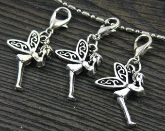 1 pc. Dangle Fairy Silver for Bracelets, Floating Charm Pendants, Necklaces & Key  D017