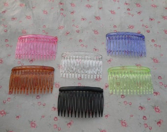 100pcs mixed color 14 teeth plastic Hair Combs 72x46mm--HA3099-100