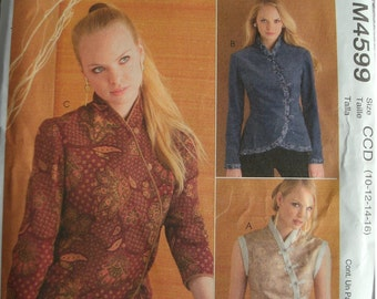 Misses Unlined Vest and Jacket in Two Lengths Sizes 10-12-14-16 McCalls Sew News Pattern M4599 Easy to Sew NEW UNCUT Pattern Dated 2004