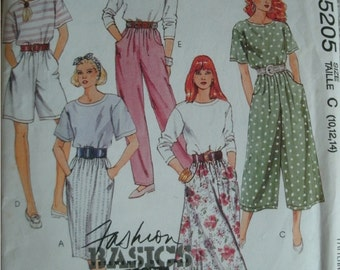 Size 10-12-14 Misses Top, Skirts in 2 Lengths and Pants Easy Mccalls Fashion Basics Pattern 5205 Rated Easy to Sew MINT UNCUT Pattern 1991