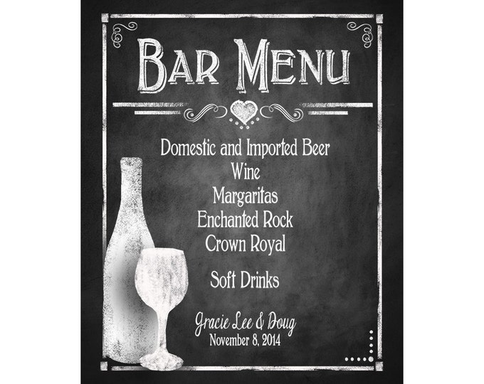 Custom Chalkboard Wedding Bar Menu - choose your size - Rustic Collection - Wedding Signage