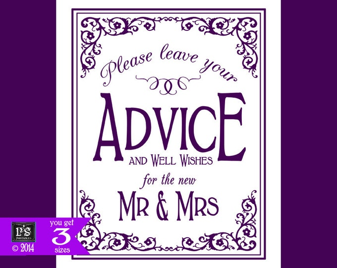 Printable Wedding ADVICE sign - 5x7, 8x10 or 11 x 14 - instant download digital file - DIY - Black Tie Collection - Plum Purple and White