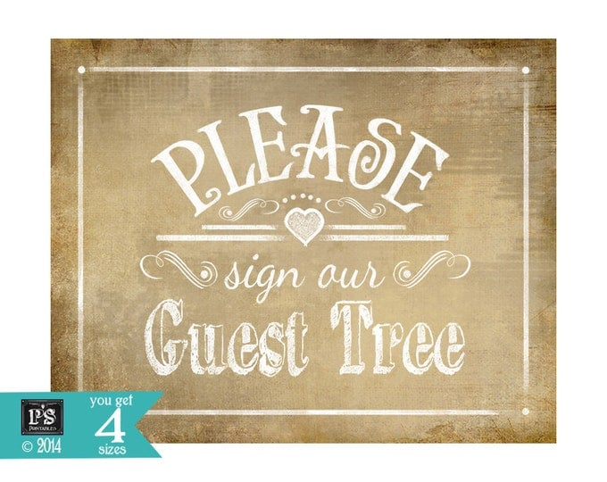 Printable Wedding Rustic GUEST TREE sign - 4 sizes - instant download digital file - DIY - Vintage Collection