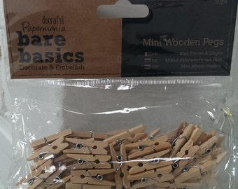 Mini Wooden Pegs (50 Pack)