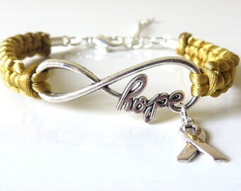 Childhood Cancer HOPE Gold Awareness Bracelet with Optional Hand Stamped Letter Initial Charm