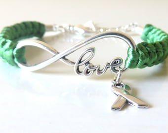 Liver Cancer Celiac Disease LOVE Emerald Green Awareness Ribbon Infinity Charm Bracelet With Optional Hand Stamped Alphabet Initial Charm