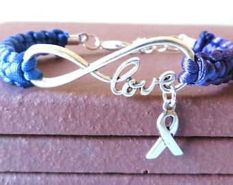Rheumatoid Arthritis LOVE Awareness Ribbon Charm Bracelet With Optional Hand Stamped Alphabet Letter Charm