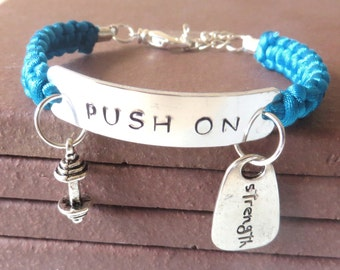 PUSH ON Workout Weight Lifting Bodybuilding Barbell Strength Charm Bracelet You Choose Your Cord Color(s)
