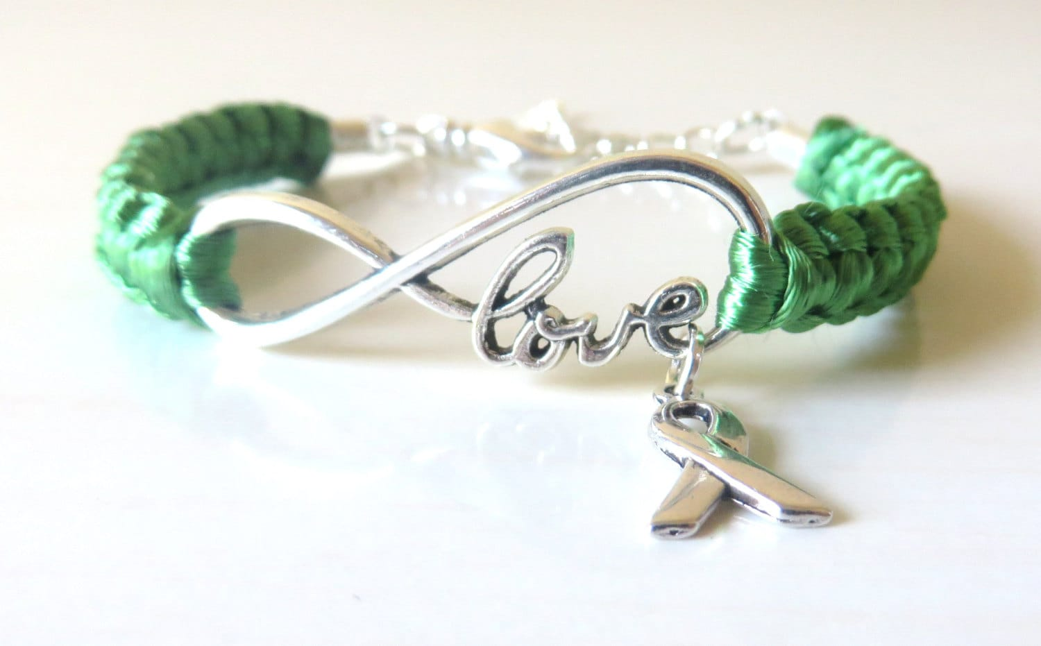 liver mental storm palsy charm cerebral green pin ribbon cancer adrenal stronger bracelet