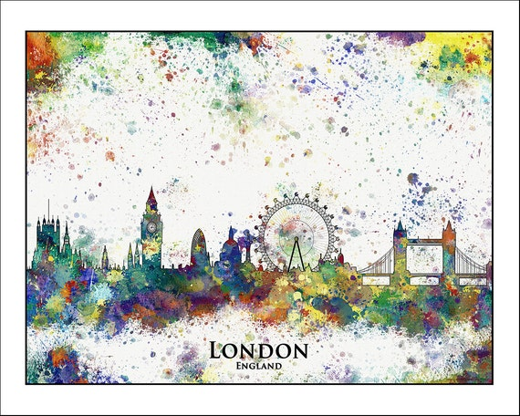 LONDON City Skyline London London Map England Watercolor – London City Map