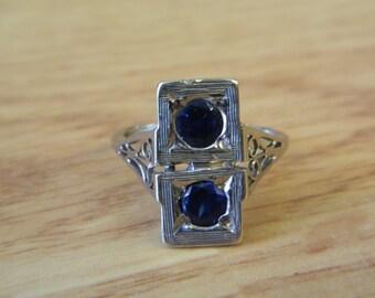 Antique Wide Rectangular 14K White Gold Sapphire Ring