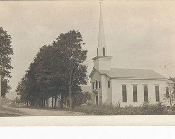 Vintage RPPC Postcard of A Church in Plymouth, Utah ca.1907