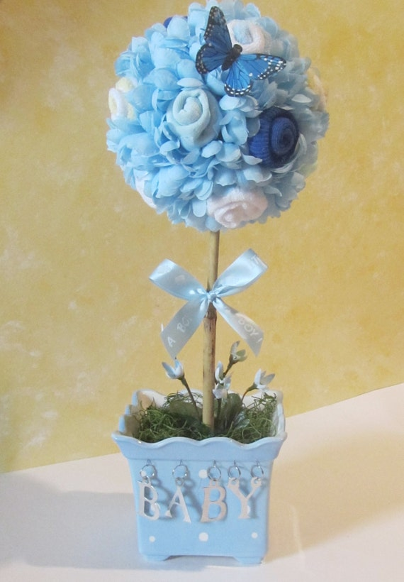 Flower arrangements for baby shower boy my web value baby topiary baby shower centerpiece baby boy shower decoration baby sock flowers centerpiece negle Image collections