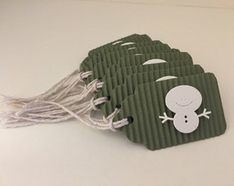 Set of Ten (10) Hand Made Green Corrugated Cardboard Snowman Holiday Gift Tags