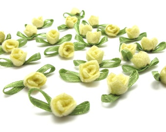 30 Pieces Acrylic Felt Rolled Flower Buds|With Leaf Loop|Glued|Floral Empplique|Rosette Flowers|Rose Buds|Flower Decor|Acrylic Felt