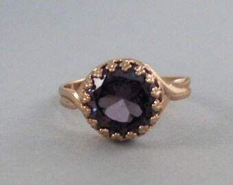 Amethyst Rose Gold Ring,Ring,Rose Gold Ring,Gold,Amethyst Ring,Genuine Amethyst,Rose Gold Emerald,Purple STone,Amethystk