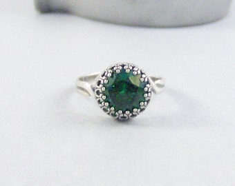 Emerald Sterling Ring,Ring,Sterling Silver Ring,Silver,Emerald Ring,Genuine Emerald,Green Stone,May Birthstone.Green Ring. Seamaidenjewelry.