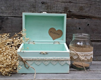 Rustic Mint Wedding Wish Box, Guest Book Alternative, Distressed Wooden Wish Box, Keepsake Box, Wedding Advice Box,