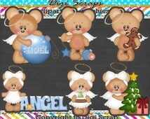 Christmas Angel Bears digital Clip Art Set - Clipart scrapbooking set downloadable