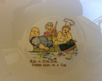 Vintage Children's cereal bowl, three men in a tub, Baker butcher candlestick maker