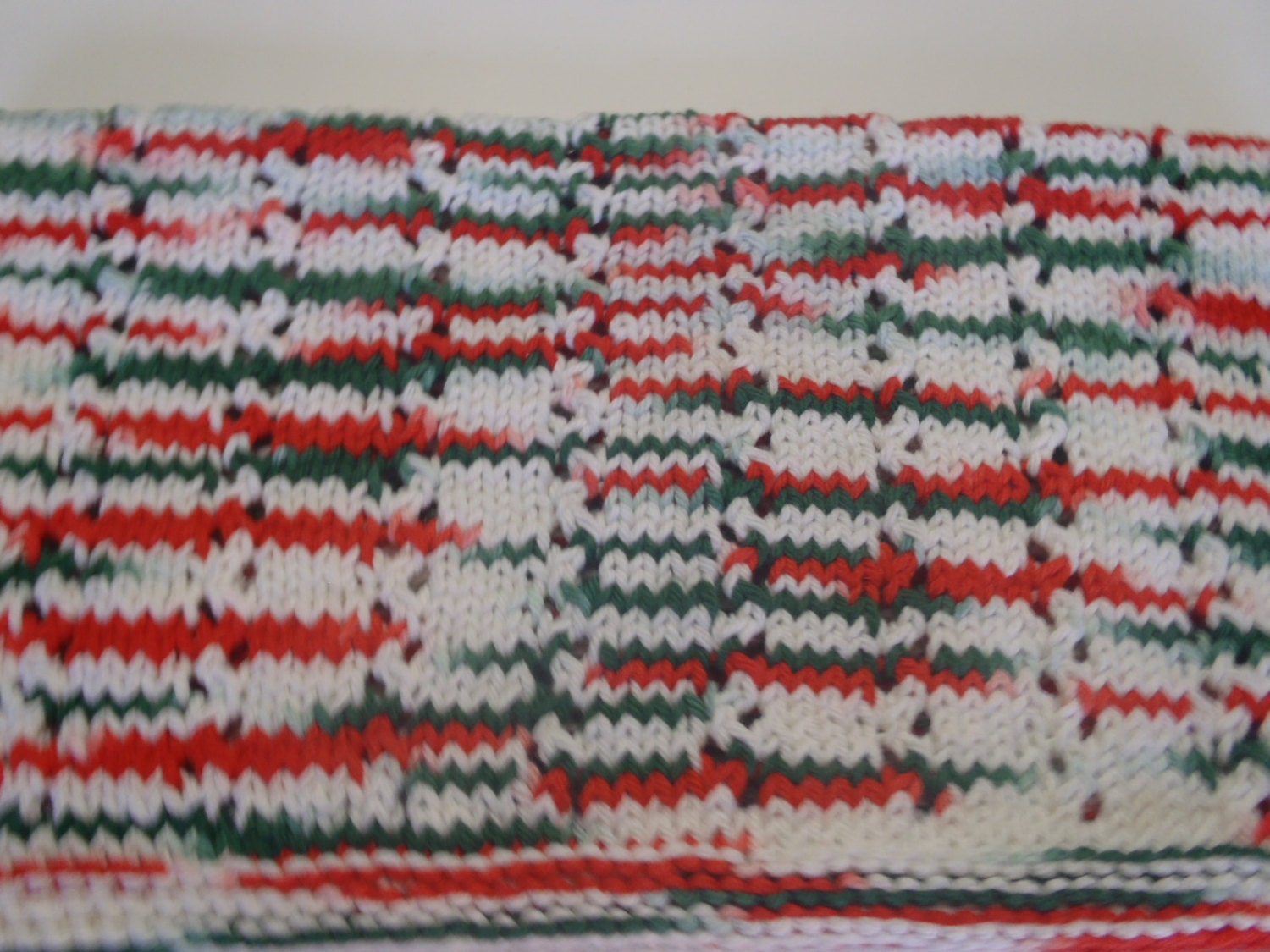 Knit Dish Towel Christmas Kitchen Towel Cotton Eyelet by AMailys