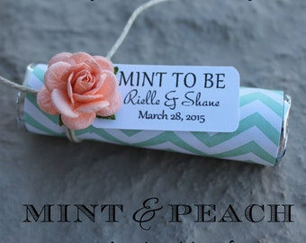 Peach roses with custom favor tags, mint to be wedding favor tags, peach wedding