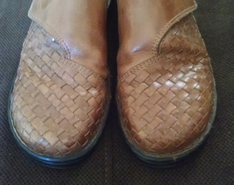 Woven Brown Leather Clogs  Size women's 8