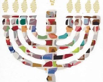 Mosaic Menorah Hannukah Jewish Note Card