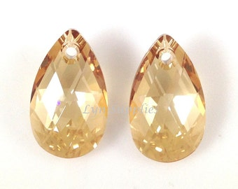 6106 GOLDEN SHADOW 22m Swarovski Crystal Large Teardrop Pear Crystal Pendant 2pcs or 6pcs, Champagne Gold