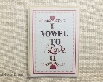 I Vowel To Love U Handmade Card | Typography Love Card | Valentines Card | Relationship Card | I Love U Anniversary Card | Greetings Card