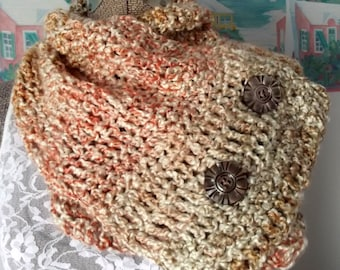 Handmade Crochet Cowl, Cream Collar, Tan, Rust, Coral Cowl, Soft Scarf, Lofty, Neck Warmer, Vintage Shell Buttons