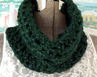Handmade Crochet Cowl Forest Green Soft Scarflet Ear Warmer Collar Hood Scoodie