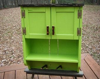 Rustic Wood Wall Cabinet - Apple Green Wood Wall Cabinet