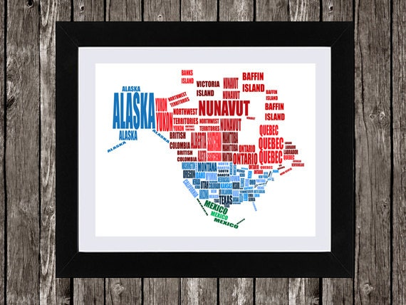 Map Of North America Usa Canada And Mexico Typographic: North America Map Wall Art At Usa Maps
