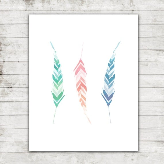 Three Colorful Feathers- Nursery Printable Art for 8x10 print- Digital File #240