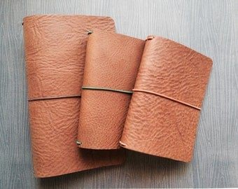 Leather Notebook Cover- Pilot- Soft And Flexible Oil Tanned Leather In Chestnut Brown