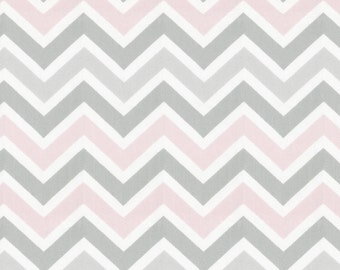 Pink and Gray Chevron Fabric - By The Yard - Pink / Gray / Chevron / Zig Zag / Girl