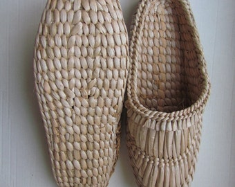 Bast sandals Straw slippers Shoes for sauna Ukrainian folk style