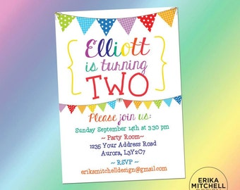 Rainbow Birthday Invite // DIGITAL FILE // CUSTOM Birthday Invitations