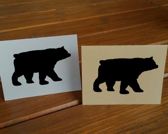 Black Bear Note Cards - Rustic Card - Plain Cards