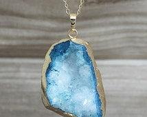 Blue Agate Druzy Slice Pendants // Gold Agate Slice Drusy Pendant // Drussy crystal Pendant // Irregular stone jewelry B997