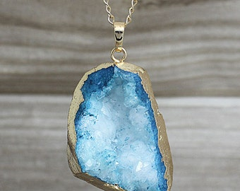 Blue Agate Druzy Slice Pendants // Gold Agate Slice Drusy Pendant // Drussy crystal Pendant // Irregular stone jewelry B997