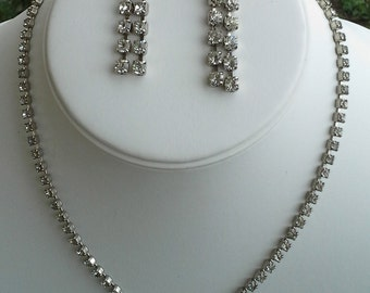 Vintage Rhinestone set of necklace and earrings