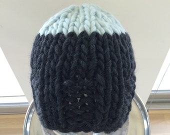 Hand Knit Chunky Wool Hat, Charcoal Gray and Light Blue, Size M, Big Knit Hat