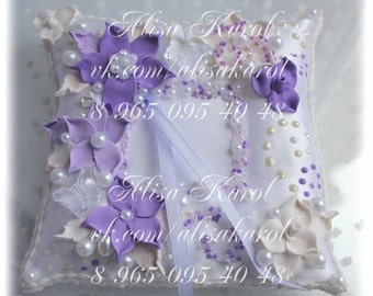 Ring pillow, wedding ring bearer in lilac and white, wedding accessories hand made (ANY COLOR)