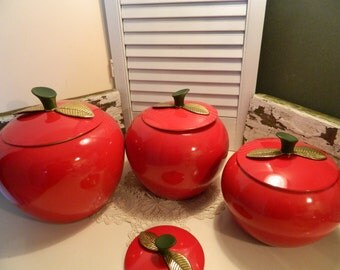 Mid Century Set of 4 Red Metal Apple Canisters