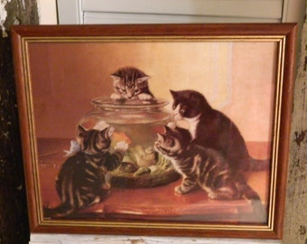 Vintage Kittens With Fish Bowl Picture